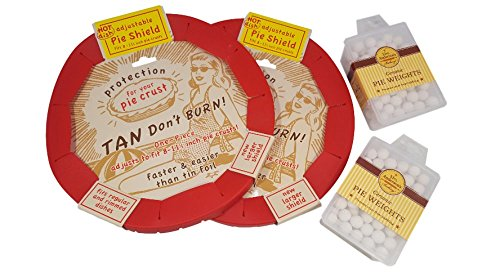 "Pie Weights Ceramic (2) And Pie Crust Shield (2) Adjustable Fits 8"" - 11.5 in. Pie Crust, Silicone, Talisman Designs Bundled With Mrs. Anderson's, Pie Baking Accessories"