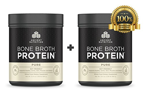Ancient Nutrition Bone Broth Protein - Pure - 15,900mg of Collagen - 1,256mg of Chondroitin - Over 19 Amino Acids, Key Minerals, Hyaluronic Acid and Glucosamine
