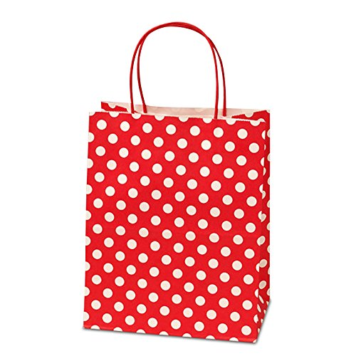 Panda Party Supplies Twisted Handle Matte Red Polka Dot Paper Shopping Gift Bags (12)]()