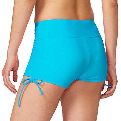 Baleaf Women's Fully Lined Boy Short Swim Bikini Bottom With Adjustable Ties Blue Size (Blue Boyshorts)