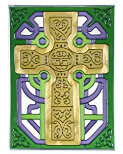 "Gold Celtic Cross Painted Glass Window 10.25"" x 14"" Inspirational Suncatcher"