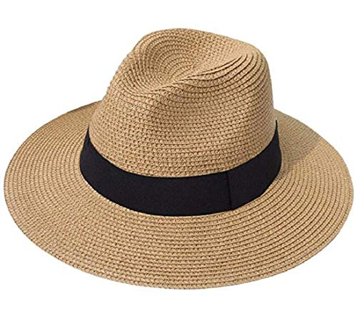 (Tumo Life Sun Hat for Women Wide Brim Straw Panama Beach Hat, Summer Roll up Beach Fedora Floppy Hats Brown)