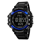 Bounabay Men's Sports Pedometer Watch with Heart Rate Monitor LED Digital Watch 50M Waterproof, Blue