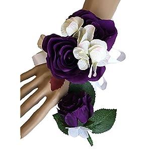 Silk Flower Arrangements Angel Isabella 2pc Set of Wrist Corsage & Boutonniere(XLWC002-RSPP) -Rorse Hydrangea-Artificial Flower (Purple)