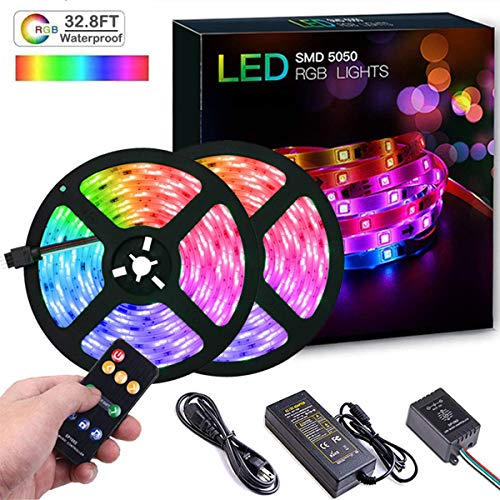 LED Strip Lights with Music Sync-Chase Effect, Dream Color Music Lights 32.8ft, 5050SMD RGB Rope Lights with RF Remote, 300LEDs Waterproof Flexible String Light for Indoor Bedroom, 12V Power Supply