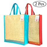 INDOZY Jute Carry Bags for Multipurpose home use | Shopping bag | 2 pcs combo | with Zip for Men Women Office uses| Large size 14x16x4 inch| Reusable Eco-Friendly | Value for money Pack with Quality Laminated Burlap Hand-Bag
