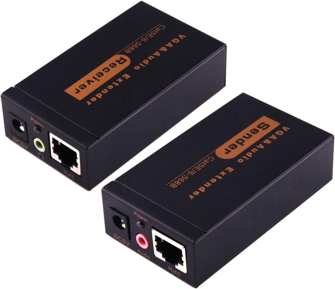 Yangjian VGA & Audio Extender 1920x1440 HD 100m Cat5e / 6-568B Network Cable Sender Receiver Adapter (zwart) (Color : Black) Black