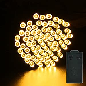 LightsEtc 72 LED 32ft Warm White String Lights Fairy Battery Operated Light Automatic Timer 8 Modes