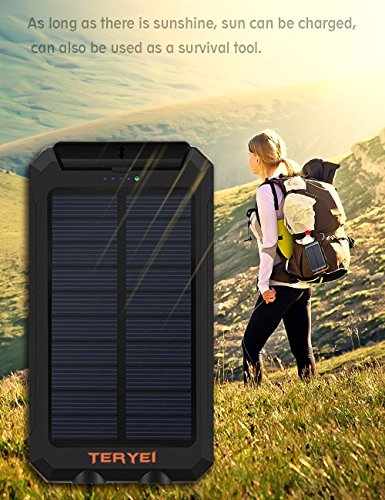 Review Solar Charger Teryei Solar Power Bank 15000mAh External Backup Outdoor Cell Phone Battery Charger with Dual USB Port,Dual LED Flashlights,Solar Panel for iPhone,Samsung (Orange)