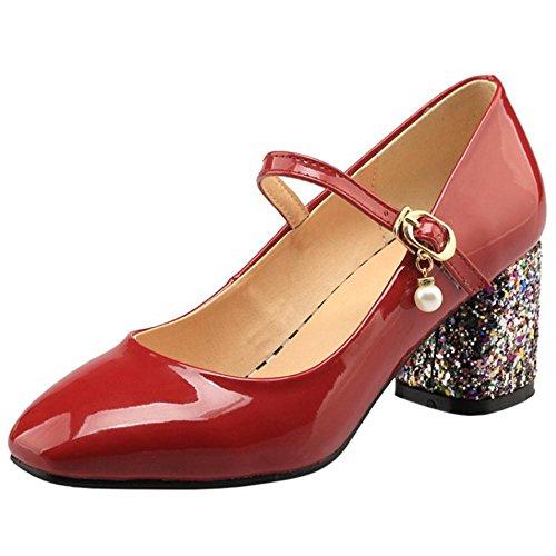 COOLCEPT Damen Mode Blockabsatz Pumps Red