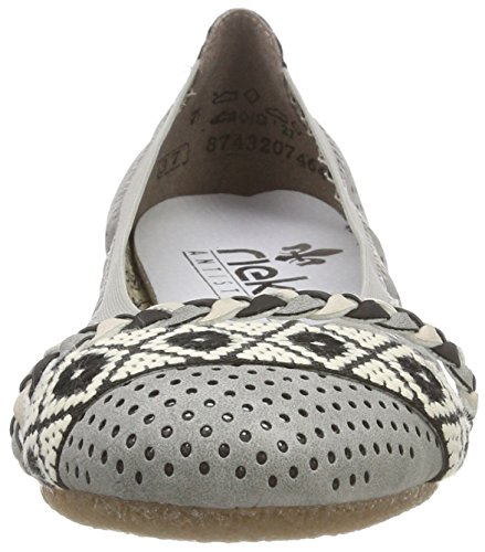 Rieker Damen 41468 Geschlossene Ballerinas Grau (Cement/Offwhite/Schwarz-Creme)