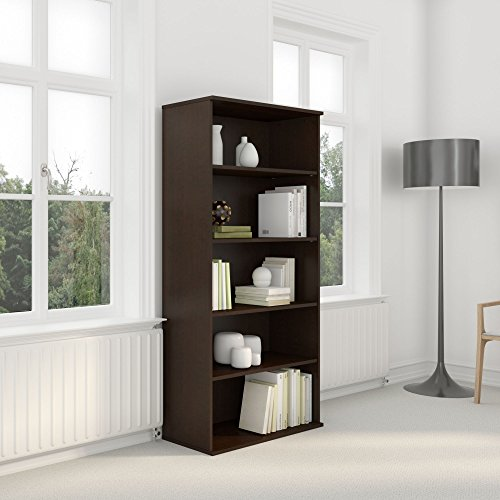 Bush Business Furniture 72H 5 Shelf Bookcase in Mocha Cherry
