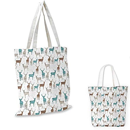 Deer fashion shopping tote bag Animals with Old Text Pattern Christmas Theme Vintage Inspired Illustration canvas bag shopping Turquoise Brown Beige. 13