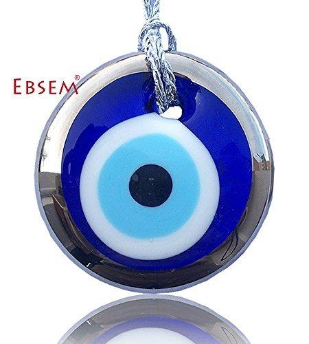 Silver Gilt Handmade Evil Eye Glass Charm Decorative Ornament (3.5 inches)