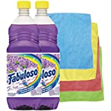 Fabuloso All-Purpose Cleaner Liquid Solution, Purple, Lavender Scent, 22 Oz Cleaner Bundle (2) + 4 Microfiber 12 X 12 Wiping Cloths Colors May Vary