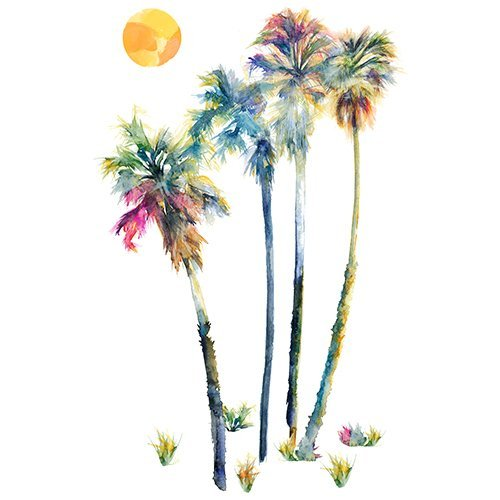 (RoomMates Watercolor Palm Trees Peel And Stick Giant Wall)