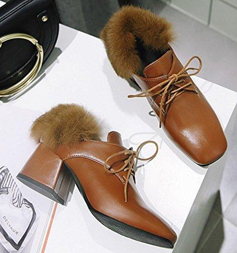 Fourrée Femme Brun Chaussure Easemax Escarpins Chunky Carré Bout Fashion HXSHwqdv