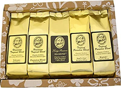 Voted Our Best Coffee Gifts for Mothers Day, Fathers Day, Birthdays, Christmas and All Occasions, Pure Kona and Kona Hawaiian Coffee Sampler Gifts, Ground Coffee and K-cup Coffee Gifts