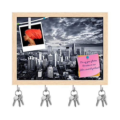 (Artzfolio Seattle Cityscape, Washington, USA Key Holder Hooks | Notice Pin Board | Natural Brown Frame 16.1 X 12Inch)