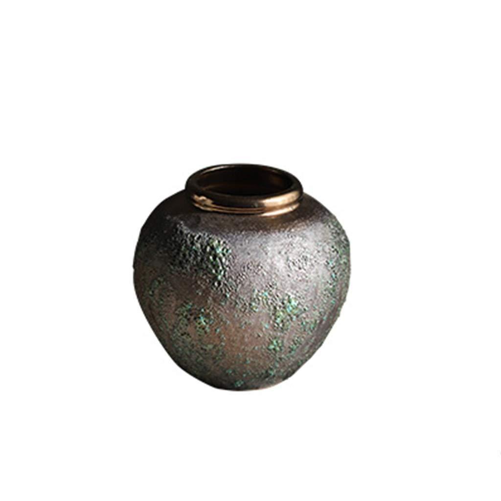 花瓶石陶器陶器陶器星空ドライフラワーレトロ小さな新鮮な花瓶リビングルームフラワーアレンジメント LQX (Size : S) B07RMDY2FL  Small