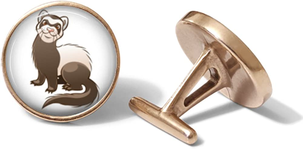 Cartoon Ferret Cufflinks Solid Bronze