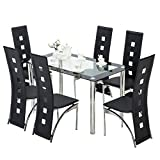 mecor 7 Piece Kitchen Dining Set, Glass Top Table with 6 Leather Chairs Breakfast Furniture,Black
