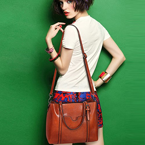cuero bolsa señoras 's Women rosa Brown hombro PU Tote Vintage casual bolsa de Flada ZwfTaqA