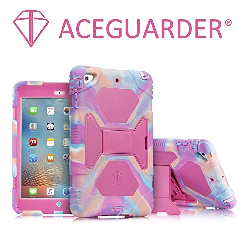 iPad Mini Case, ACEGUARDER Full Body Protective Premium Soft Silicone Cover with Adjustable Kickstand for iPad Mini 1 2 3 (PinkCamo/Rose) (2 Girls Ipad Cases For)