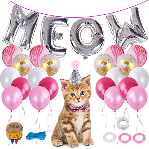 LOCOLO Cat Birthday Party Suppliers,Meow Letter Biodegradable Latex Balloons,20 Pieces Pink Balloons,Cat Birthday Adjustable Hat and Bow,Balloon Ribbon,Balloon Dot Glue and Balloon Pumps]()