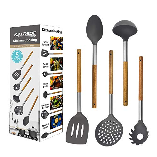 KALREDE Kitchen Utensils Set 5 Piece - Non Stick Nylon Cooking Utensils Set –Heat Resistant Kitchen Tools Set with Wooden Handle including Spatula, Pasta Server, Deep Ladle, Strainer and Spoon( Gray by KALREDE (Image #6)