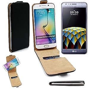 Caso Smartphone para LG Electronics X cam cubierta del estilo del tirón 360°, negro, cubierta del tirón - K-S-Trade