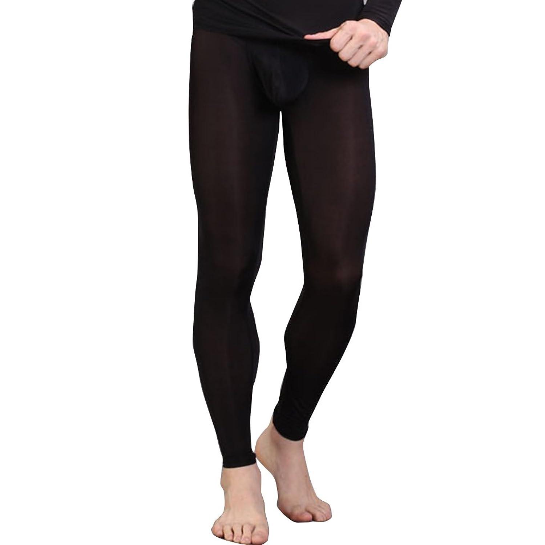 iEFiEL Herren Legging Leggin lange Unterhose Longjohns Underwear Unterwäsche mit Transparent Effekt