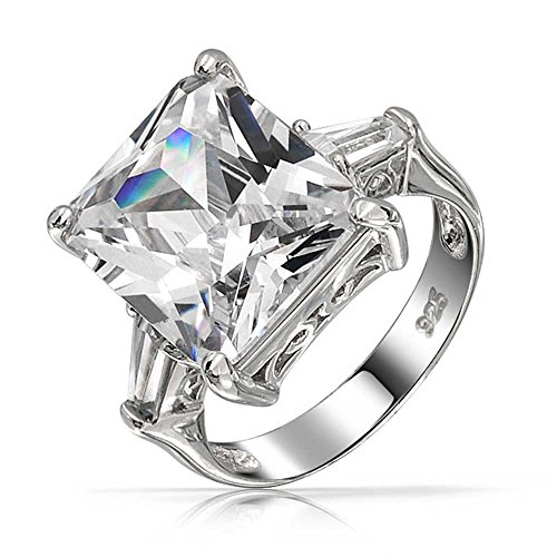 (Art Deco Style 925 Sterling Silver 7CT Rectangle AAA CZ Princess Cut Statement Engagement Ring Baguette Side Stones)