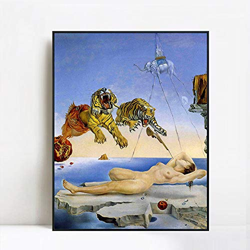 INVIN ART Dream Caused by The Flight of a Bee a Second Before Awakening by Salvador Dali Framed Canvas Giclee Print Art Wall Art(24