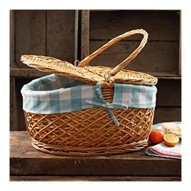 The Pioneer Woman Picnic Basket Wicker Willow and Lined Fits 11 Dinner Plate (Gingham Blue Check)