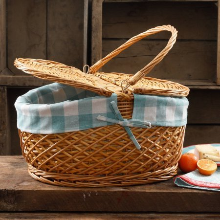 The Pioneer Woman Picnic Basket Wicker Willow and Lined Fits 11 Dinner Plate (Gingham Blue Check) (Picnic Basket Wicker)