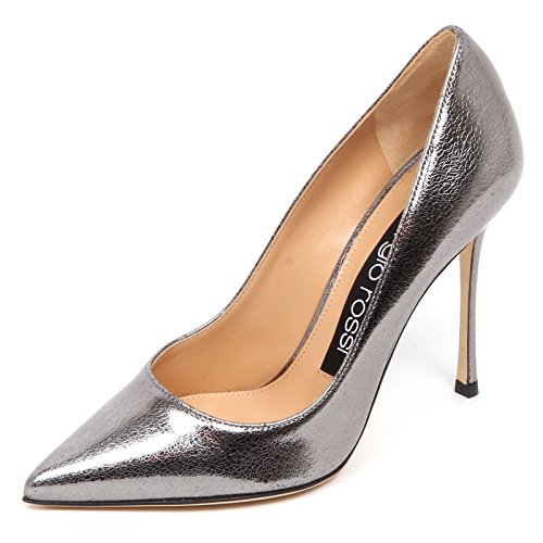 Donna lamé Effect Woman Cracked Shoe E4742 Rossi Grey Sergio Decollete Scarpe wqPt8nX