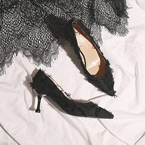 Women Women'S Fine And Sequins Women'S High 38 Heels Spring Gun heels Pointy Wild Autumn High Black Yukun And Gradient Color wPZxIvqPS