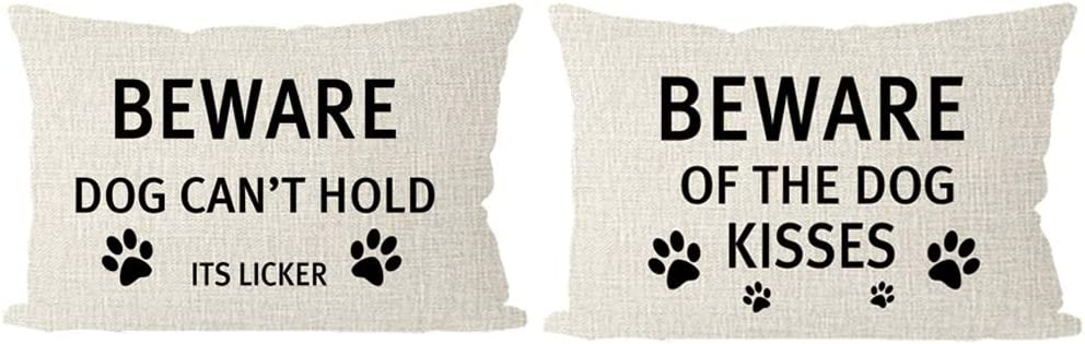 Amazon Com Itfro 2 Pack Dog Moms Gift Beware Of The Dog Kisses Dog Cant Hold Its Licker Beige Lumbar Throw Pillow Cover Cushion Shell Sofa Decorative Rectangle 30x50cm Home Kitchen