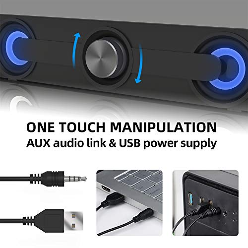 Computer Speakers, Mini Perfect Dynamic Stereo Wired Multimedia Computer Sound Bar, Connect to PC Cellphone Tablets PSP MP3 MP4, Small USB-Powered PC Computer Speakers(Black)