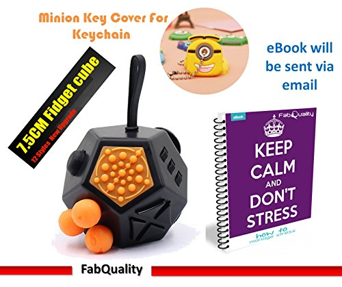 FabQuality Cube 12 Sides Anxiety Attention Toy With Minion Key Chain Gift + eBook Included - Relieves Stress And Anxiety And Relax for Children and Adults BONUS EBOOK is sent by email - 2