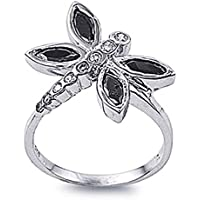 Sterling Silver Marquise CZ Dragonfly ring 20MM (Size 5 to 10)