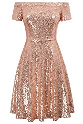 Off-Shoulder Pleated A-Line Sequin Dress