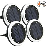 FORUP Solar Ground Lights, 8 LED Garden Pathway Outdoor in-Ground Lights, 4 Pack (White)