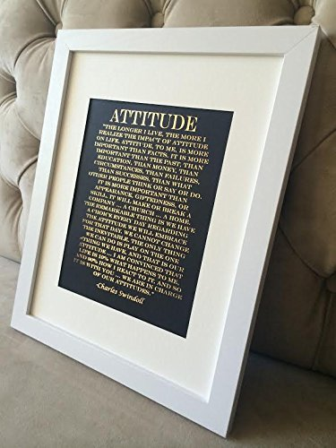 Attitude Quote – Charles Swindoll Print on Black Matte Paper – Gold Foil Print – Inspirational Quote – Unique Wall Print – Interior Design – Interior …