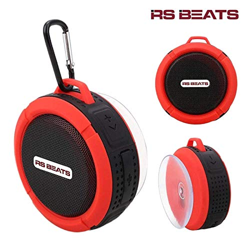 Portable Waterproof Bluetooth Wireless Speaker-with 5W Driver, Built-Mic, Suction Cup, Hands-Free Speakerphone Perfect for Camping, Sports, Beach, Shower, Pool Party(Red) (Beats Mp3)