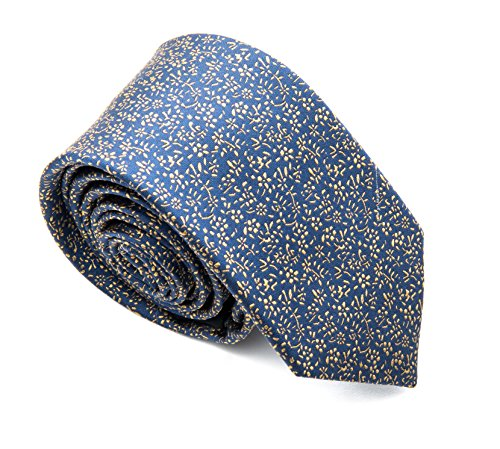 - Better Fellow The Salem Men's Fashion Slim Tie - Blue with Gold Floral Pattern Silk