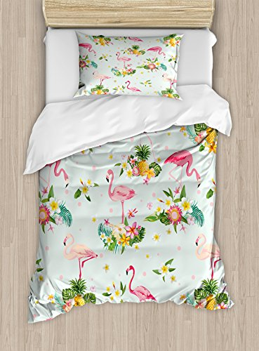 Ambesonne Flamingo Duvet Cover Set Twin Size, Flamingo Bird Tropical Flowers Fruits Pineapples Vintage Style Artwork, Decorative 2 Piece Bedding Set with 1 Pillow Sham, Yellow Green Pale Pink ()