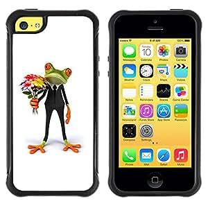 Suave TPU GEL Carcasa Funda Silicona Blando Estuche Caso de protección (para) Apple Iphone 5C / CECELL Phone case / / Flowers Frog Gift Love White /