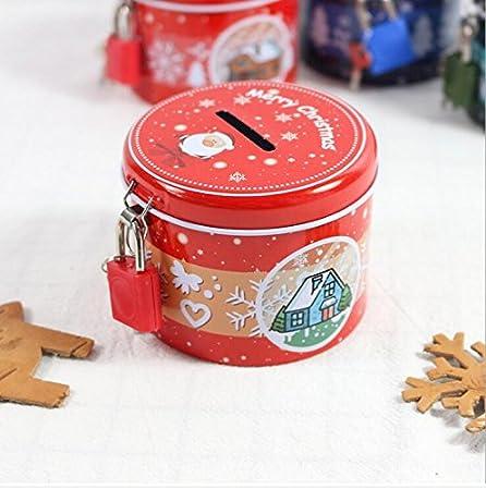 Santa Claus rouge Tirelire pour enfants et adultes Bo/îte de rangement de fer-blanc de bouteille de fer-blanc de tirelire